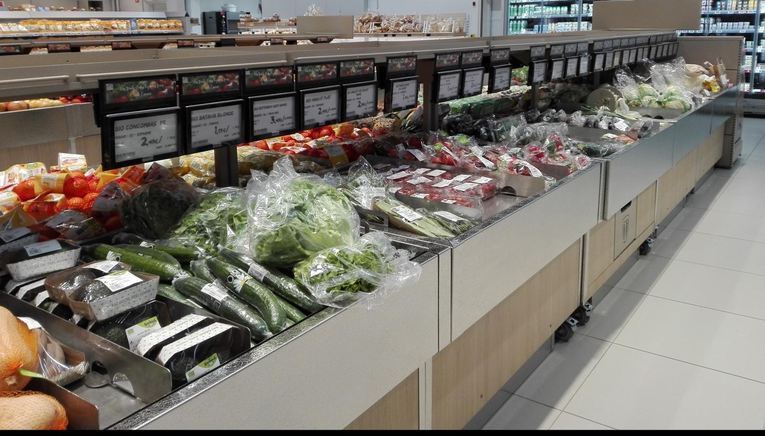 Verduras y frutas envasadas
